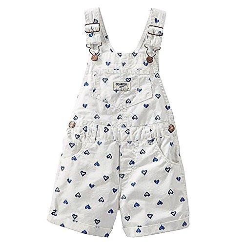 OshKosh B'gosh Baby Girls' White Blue Hearts Shortalls - 24 Months
