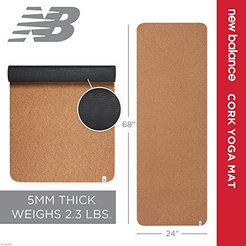 New Balance Cork Yoga Mat Non Slip Eco Friendly Yoga Mat Men & Women – Lightweight Sustainable Cork Mat Top & Non Toxic…