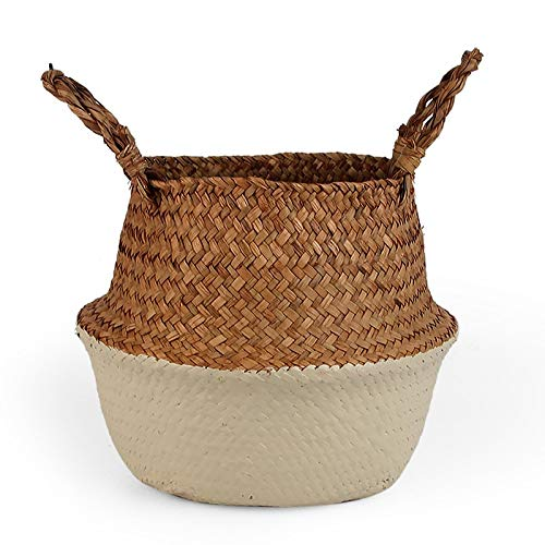 SeedWorld Storage Baskets - Folding Seagrass Laundry Basket Rattan Flower Basket Vase Planter Nursery Pot Belly Basket Straw Toys Organizer Home Decor 1 PCs -