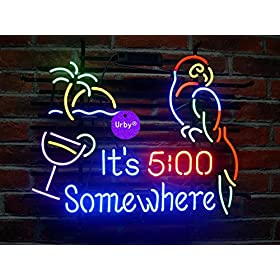UrbyTM It's 5:00 5 O'clock Somewhere Parrot Handmade Real Glass Neon Sign (MultipleSizes) Beer Bar Light Handicraft U117