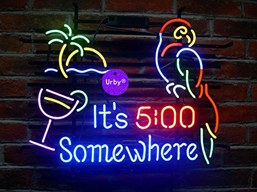 Urby™ 20×16 It's 5 :00 S omewhere Parrot Custom Handmade Real Glass Neon Sign Beer Bar Light 3-Year Warranty-Excellent  Unique Handicraft! U117