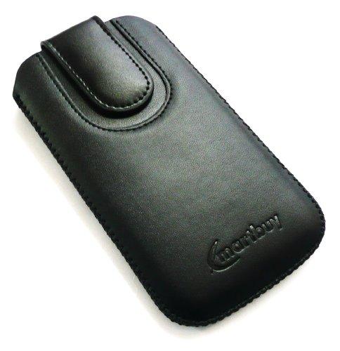 Emartbuy ® Value Pack Para Samsung Chat 357 S3570 Negro / Negro Pu Del Premio Slide Cuero De La Bolsa / Caja / Manga / Titular (Tamaño Grande) Con Mecanismo Pull Tab + Compatible Micro Usb Car Charger