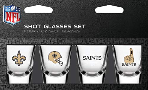 PSG, NFL New Orleans Saints Shot Glass Set4 Pack Shot Glass Set, Team Colors, One -