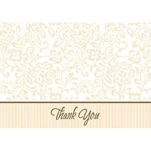 Classical Floral and Stripes Gold Wedding Traditions Thank You Notes Set Party Supply Paper Pack of 50 3 x 4 TradeMart Inc 486004 3 x 4