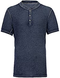 Men's Casual Short Sleeve Lightweight Burnout Thermal and Heather Henley Tee