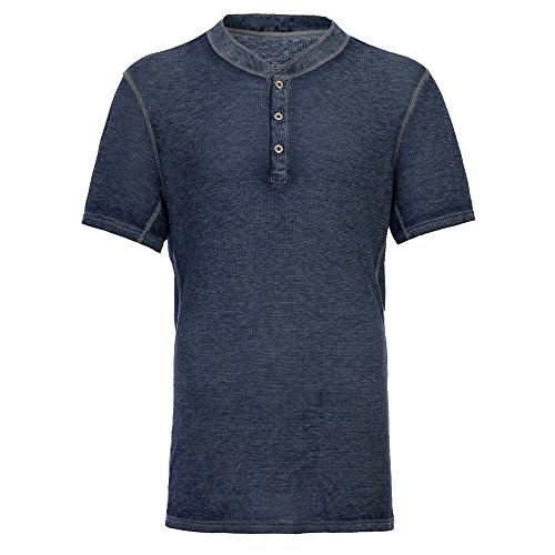 Men's Casual Short Sleeve Lightweight Burnout Thermal and Heather Henley Tee Blue