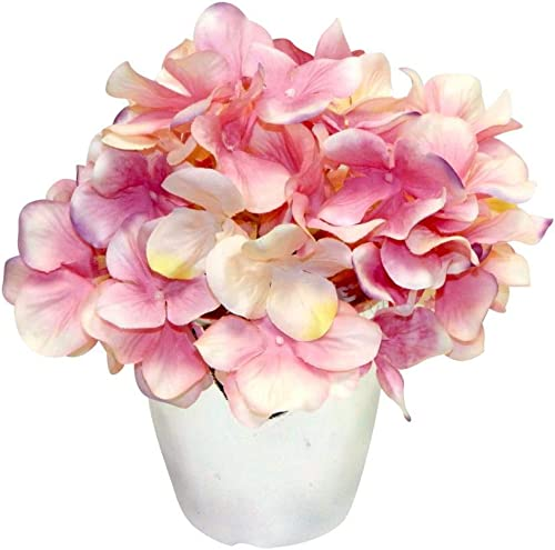 Ella and Lulu Graceful Hydrangea in Silver vase Home, Office, Indoor Outdoor Decoration, or Any Special Events, Pink