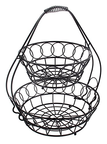 TQVAI 2 Tier Countertop Fruit Basket Bowl Bread Storage, Black