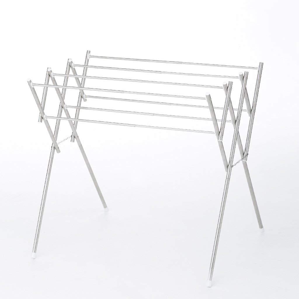 TYUIO 家庭用必需品折りたたみ拡張可能金属服乾燥ラック、シルバー B07QL7T8Z7