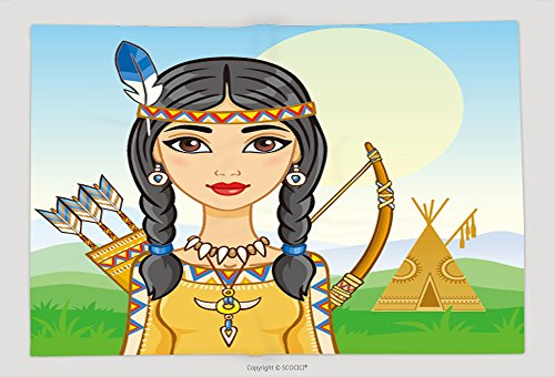 Supersoft Fleece Throw Blanket Portrait Of The Animation Girl In The Indian S Suit Background A Mountain Landscape Vector - Indian Omaha Store