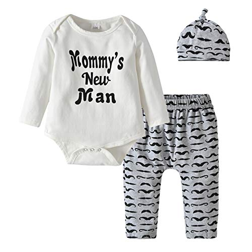 3Pcs Newborn Baby Boys Clothes Mommy's New Man Long Sleeve Romper Moustache...