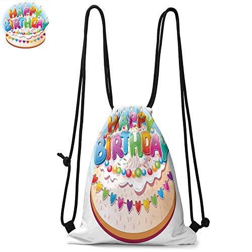 - Birthday Decorations for Kids Drawstring backpack series Cartoon Happy Birthday Party Image Cake Candles Hearts Print Convenient choice for daily activities W13.4 x L8.3 Inch Multicolor