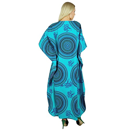 Printed Nightwear Black Women Bohemian KOKOM Blue Cotton Dress Maxi and Kaftan Caftan Long wZExxq86