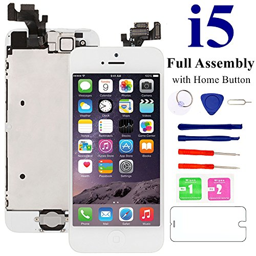 (iPhone 5 Screen Replacement White Home Button, Nroech Full Assembly Front Camera, LCD Touch Display Digitizer Including Repair Tool Kit Screen Protector)