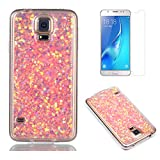 Fit for Samsung Galaxy S5 / S5 Neo Case with Screen Protector,OYIME Slim Rubber [Glitter Pink Sequins] Shiny Bling Luxury Design Scratch Resistant Protective Back Cover with Clear Transparent Bumper
