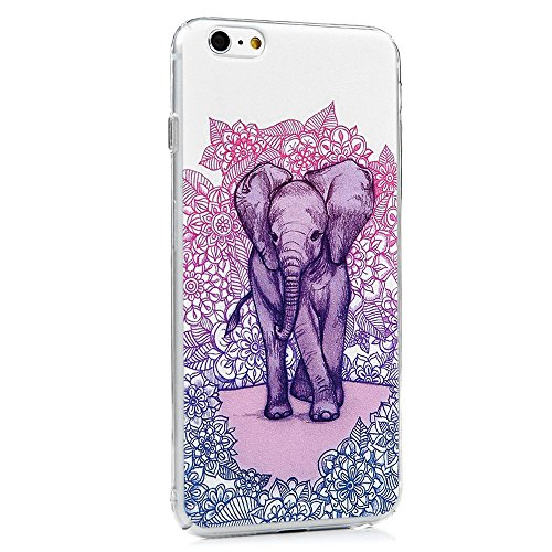 Mavis's Diary Coque iPhone 6 Plus/iPhone 6S Plus PC Rigide Fleur Elephant Dessin Housse de Protection Étui Téléphone Portable Phone Case Cover+Stylet+Bouchon Anti-poussière+Chiffon
