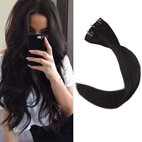 "Full Shine 14"" 9 Pieces Off Black 120gram Clip in Hair Extensions Natural Human Hair Full Head Clip in Remy Human Hair Extensions For Women Salon Quality 7A Grade"
