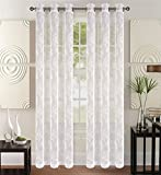 CC&DD HOME FASHION Grommet Knitting Sheer Window Curtains Drapes (2-Panel Set), 2×52