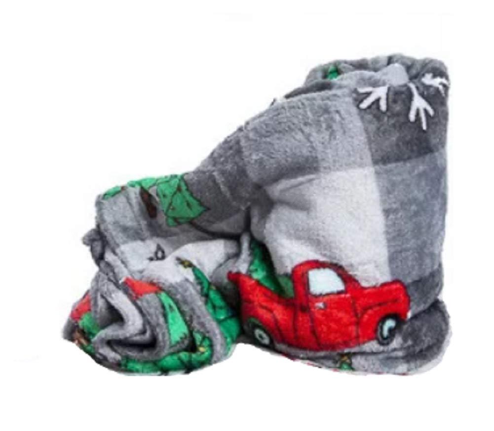Amazon.com  Throw Blanket Classic Christmas Red Pickup Truck Grey Plaid 50