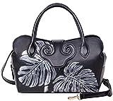 PIJUSHI Designer Floral Leather Top Handle Handbag Tote Satchel Cross Body Bag 22119 (Black with Siliver Leaf)