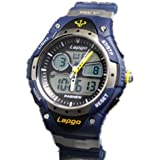 W&hstore Highquality Pasnew Water-proof Dual Time Boys Girls Sport Watch Wrist Watch Blue
