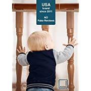 Roving Cove Safe Rail – 10ft L x 3ft H – INDOOR Balcony and Stairway Safety Net – ALMOND color – Banister Stair Net – Child Safety; Pet Safety; Toy Safety; Stairs Protector