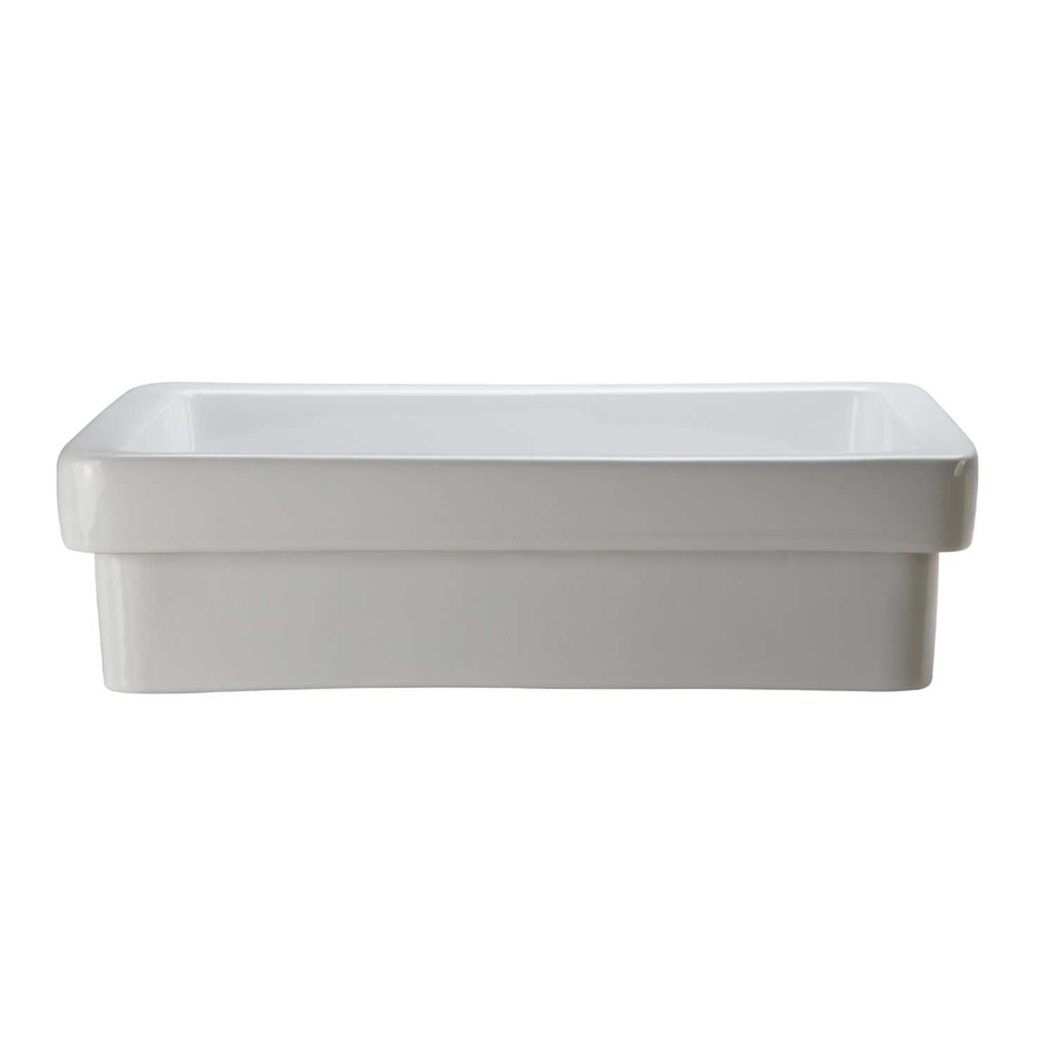 DECOLAV 1453-CWH Ambre Classically Redefined Semi-Recessed Lavatory Sink, White