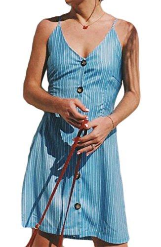 Cromoncent Pulsante Stampa Backless Blu Vestito Del Womens Della Dall'oscillazione Spaghetti Cinghia Casuale d4w7B8qC