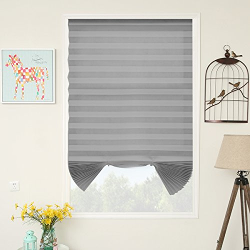 SUNFREE Cordless Light Filtering Fabric Pleated Shade Grey, 48