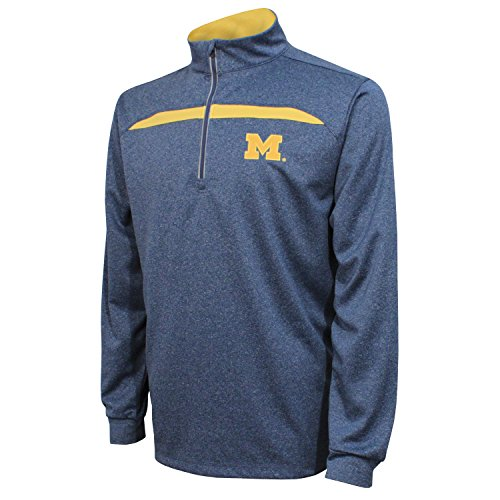 Crable Adult NCAA Men's Quarter Zip with Contrast Panel, Navy/Varsity Gold, Large ()