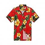 Aloha Fashion Men's Hawaiian Shirt Aloha Shirt 3XL Red Yellow Floral
