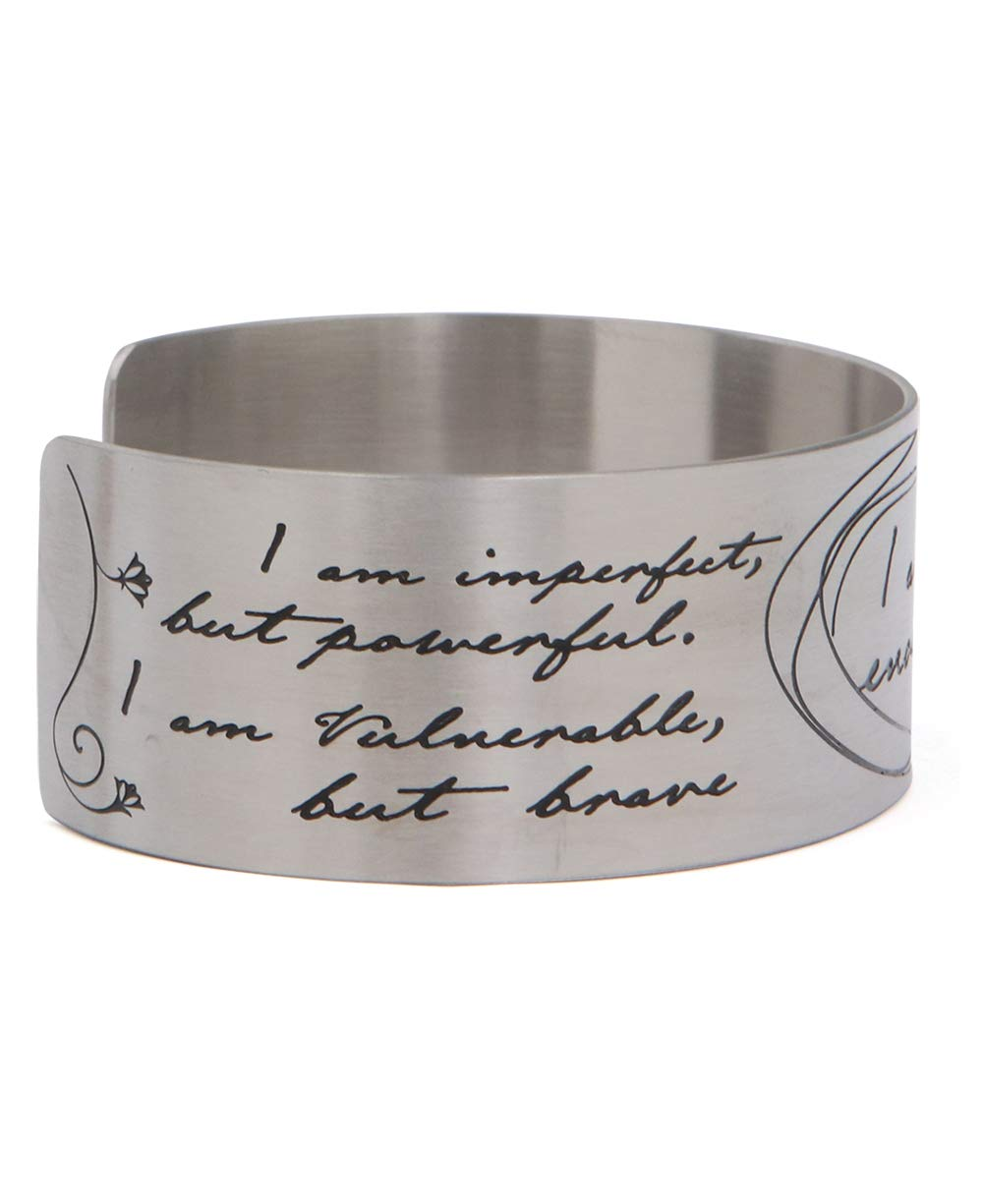 Vera Viva I Am Enough Artistic Calligraphy Adjustable Cuff Bracelet | Made of Stainless Steel | Open Designs Fit Most Wrist Size | Cuff Size 6.5 Inches by Vera Viva (Image #3)