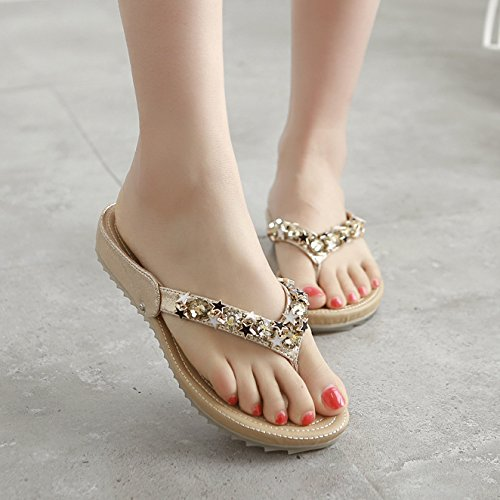 Golden Women Thick Pregnant Skid Heel Outdoor Shoes Bottom Spring Drill KPHY Slippers Women'S To Pinch Water Flat Soft Beach TUa1xw