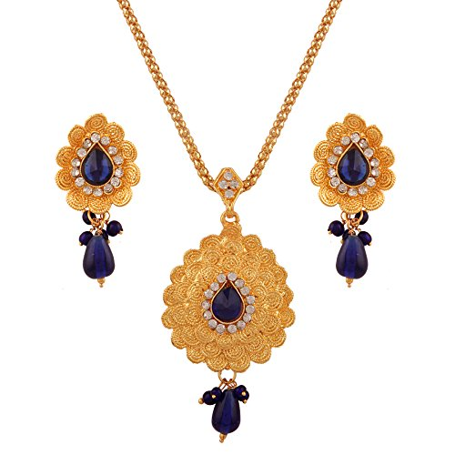Variation Traditional Designer Dark Blue Gold Plated Pendant Necklace Set for Women - VD15755