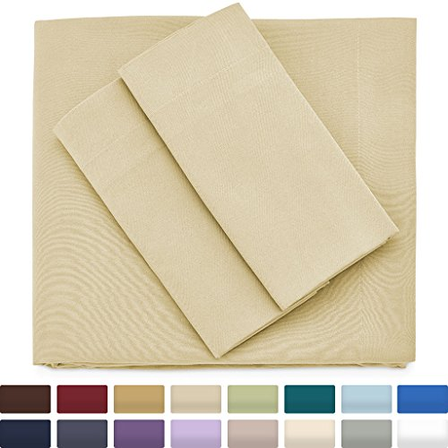 Premium Bamboo Bed Sheets - Queen Size, Tan Sheet Set - Deep Pocket - Ultra Soft Cool Bedding - Hypoallergenic Blend From Natural Bamboo - 1 Fitted, 1 Flat, 2 Pillow Cases - 4 - Cooler Striped