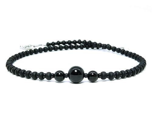 Black Stone Black Crochet Anklet