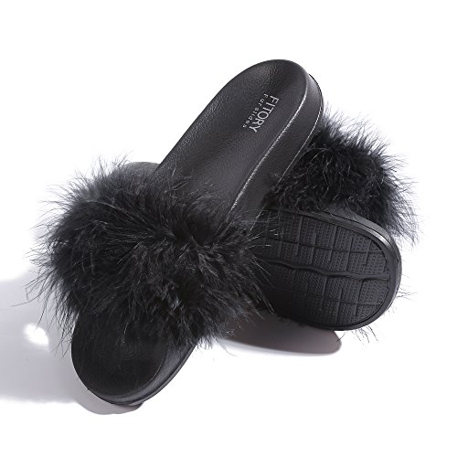 Slides for Womens Faux Fur Fuzzy Slippers with Arch Support in Flat Sandals Girls Outdoor Indoor Shoe, Black ,9-10 B(M) US by FITORY (Image #3)