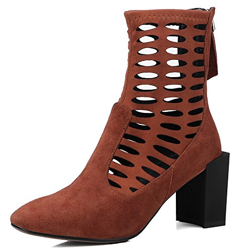 Calf Women's Block Suede Leather Seven Brown Fashion Mid Boot Nine Toe Heel Square Style Handmade xYw15