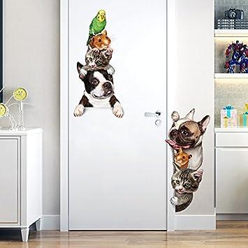 Rureng Animales De Dibujos Animados En 3D Ratón Wall Sticker Gatos Perros Aves Divertidas Pegatinas Puerta Decoracion Habitaciones Infantiles Decoración ...