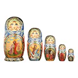 danila-souvenirs Russian Wooden Nesting Dolls Hand Painted Matryoshka 5 pcs Set Fairy Tale 7.5''