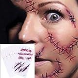 Chengzhi Tatuajes Temporales (10 Hojas) - Halloween Zombie Cicatrices Tatuajes Pegatinas con Falso Scab Sangre Especial…