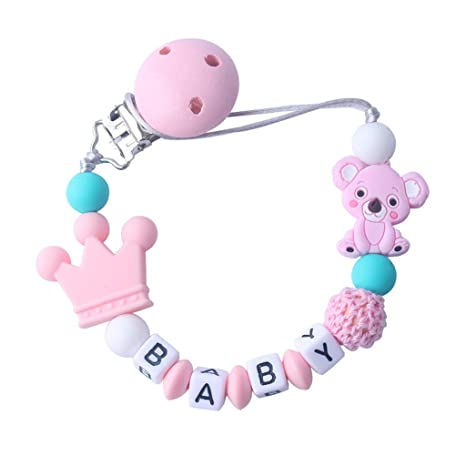 Green Dummy Chain Clip Crystal Bling Baby Yellow Cute Teddy Bear Blue Pink