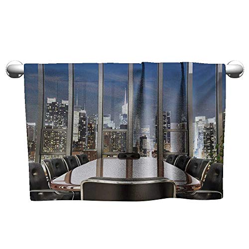 Modern,Microfiber Kids Towel Business Office Conference Room Table Chairs City View at Dusk Realistic Photo Washcloths Grey Black Blue W 14