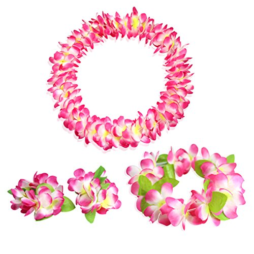 CISMARK Hawaiian Flower Leis Jumbo Necklace Bracelets Headband Set Pink]()