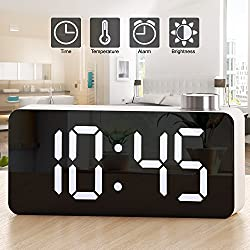 Alarm Clock – Digital Clock LED Display – Time Snooze Temperature Brightness Dimmer – Desk Clock for Kids Heavy Sleepers Adults – Modern Alarm Clocks for Bedrooms Bedside Home Battery Clock