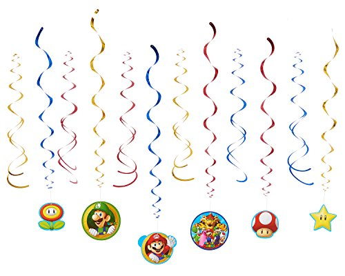Super Mario Brothers Value Pack Foil Swirl Decorations, Party Favor]()
