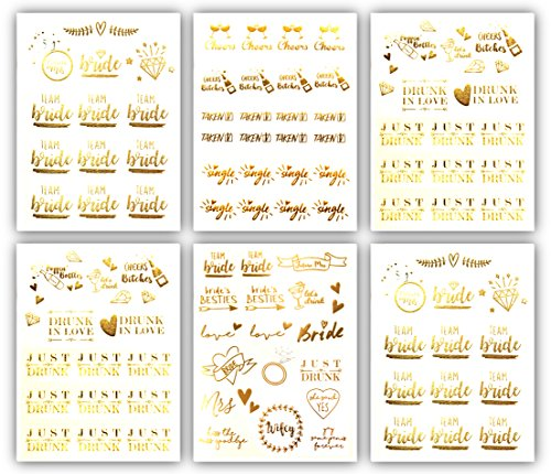 Team Bride Bachelorette Metallic Tattoos - Over 100 Temporary Tattoo Designs (6 Sheets) Gold and Silver Bachelorettesy Party Favors Jenna Collection