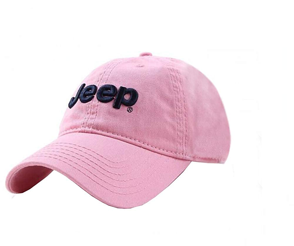 Jeep Embroidered Logo Solid Color Adjustable Baseball Caps for Men and Women