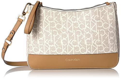 Price comparison product image Calvin Klein Sonoma Signature Monogram Messenger Crossbody,  Textured Almond / Khaki