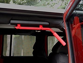 Iparts Rear Grab Handle Red Hard Mount Solid Steel Grab Handle Grab Bars for 07-17 Jeep JKU Wrangler 4 Door Pair rear red